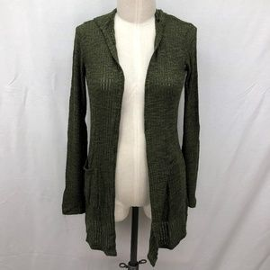 Mossimo Large Green Cardigan Hooded Open Front